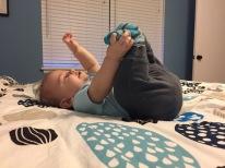 He loves his feet!
